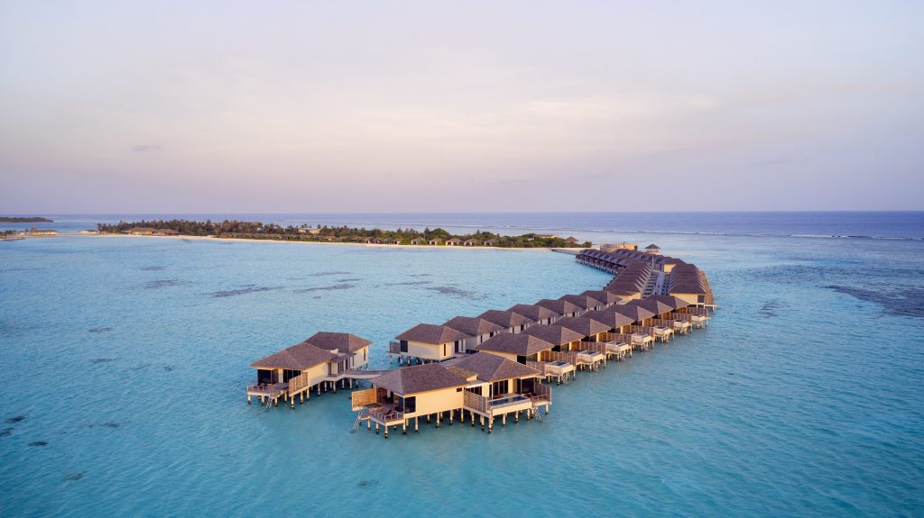 Le Meridien Maldives Resort & Spa_Two Bedroom Overwater Villa_Aerial_Dusk
